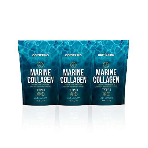 CORREXIKO Premium Marine Collagen Peptides - Wild Caught Fish from Canada (Not Farmed), Protein Powder for Skin, Hair, Nails, Joints & Bones & Digestive Health - Hydrolyzed (Unflavoured) - 3 Pack