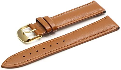 Chtom Correa de piel, 16 mm, 18 mm, 20 mm, 22 mm, 24 mm, pulsera de cuero marrón con hebilla de oro rosa casual (color: marrón oscuro, BK, tamaño: 18 mm)