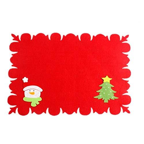 Lindo de la Navidad Mat Vajilla reemplazo muñeco de Nieve árbol de Navidad Cuchillo Estera Durable Vajilla Decoración