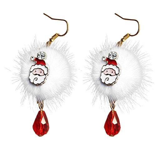 Ohrringe Weihnachten,Fascigirl 1 Paar Ohrringe Damen Mädchen Weihnachten baumeln Ohrringe Santa Ren Pom Pom Anhänger Ohrringe
