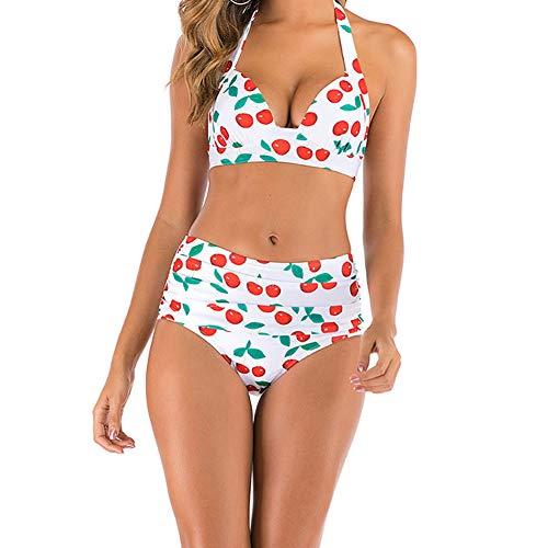 fuchsiaan Sommer Frauen Sexy Klassische Verstellbare Badeanzug Bikini-Set Mit Blumendruck No Pad Rückenloser BH Hohe Taille Höschen-Quick Dry Weißer Kirsch-BH + weiße Kirsch-Slips M.None