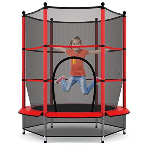 GOPLUS Trampolin Gartentrampolin Outdoor Indoor Trampolin Kindertrampolin Sprungmatte mit Sicherheitsnetz...