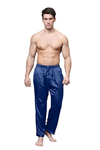Tony & Candice Men's Satin Pajama Pants Long PJ Bottoms (Medium, Midnight Blue)