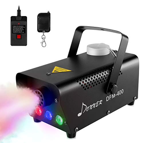 Donner Fog Machine with RGB LED lights, DFM-400 400W DJ LED Smoke Machine with Wireless and Wired Remote Control for Thanksgiving Halloween Christmas Parties Weddings, with Fuse Protect