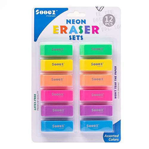 Sooez Pencil Eraser, 12 Pack Pencil Eraser for Kids, Pencil Erasers Bulk, Large Eraser for Drawing, Colorful Erasers, Big Erasers for School Classrooms, Teachers, Kids, Office, Art Class