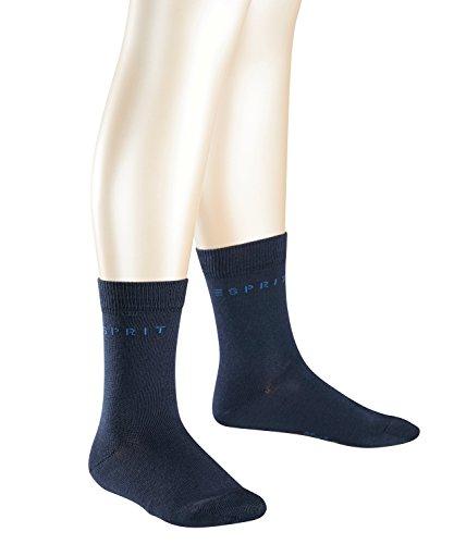 ESPRIT Unisex Kinder Socken Foot Logo 2-Pack, Baumwolle, 2er Pack, Blau (Marine 6120), 39-42 (13-16 Jahre)