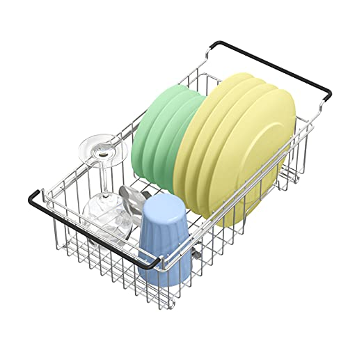 Expandable Dish Drying Rack Over The Sink Small Dish Drainer in Sink...