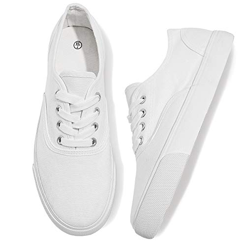 WomensCanvasShoesLow Cut CanvasSneakers Walking Running Shoes(WhiteUS8