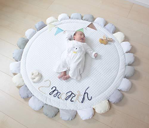 PUPPAPUPOサニーラグマット【フラワー】グレー新生児から対象お花型のかわいいプレイマットギフトにぴったりな花束型パッケージ