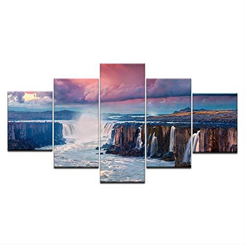 DGGDVP 5 panelen Hd drukken alle soorten waterval in de bergen roze wolk afdrukken op canvas kunst schilderij voor thuis woonkamer decoratie 40x60cmx2 40x80cmx2 40x100cmx1 Met frame.