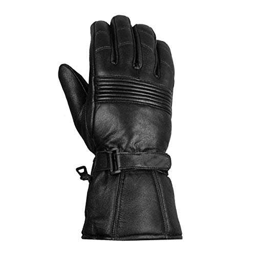 Men Premium Winter Motorcycle Biker Sheep Leather Gauntlet Thinsulate Gloves L