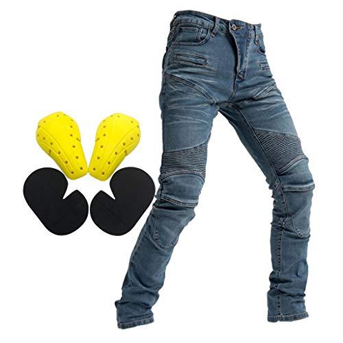 Gazechimp Pantalon de Moto avec Protection Pantalon d'Équitation Motocross avec Protéger Pads - Bleu - XL