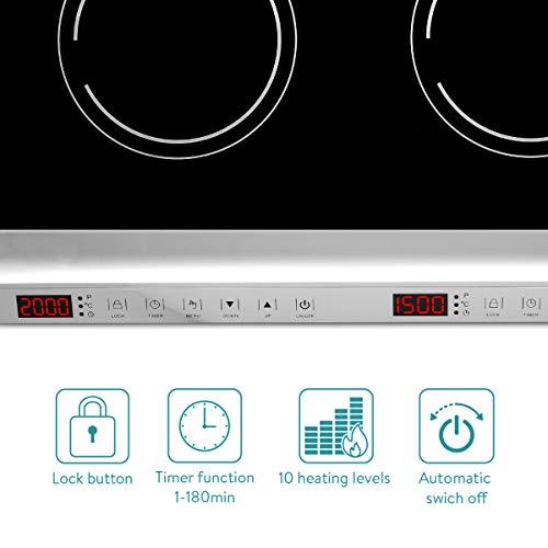 Navaris Piastra Induzione Doppia 3500W 240°C - Piano Cottura 2 Fuochi da Tavolo - Fornello Elettrico Doppio Portatile - Touch Display LED - Nero
