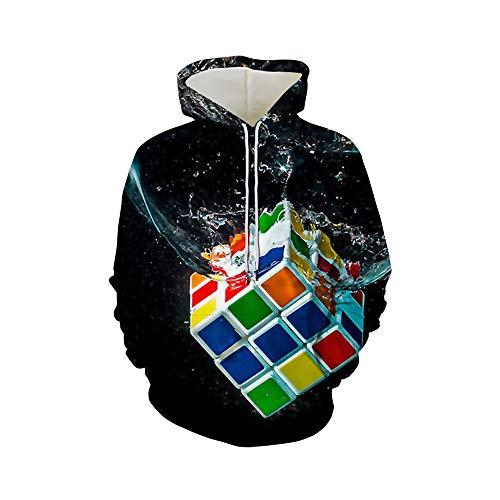 FFto Unisex 3D Impreso Otoño E Invierno Chaqueta Capucha A Prueba Viento Sudadera para Hombre Pullover Ropa Deportiva Casual Manga Larga Bolsillos Superiores Cordón, Serie Rubik'S Cube,M