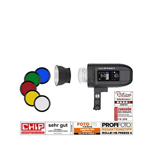 Rollei HS Freeze 4 Professioneller Studio-blitz mit starkem Foto Akku mit 400 WS Blitzlicht inkl. 45° Reflektor & 5 Farbfolien