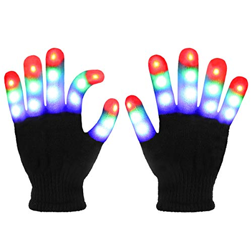 Jofan Light Up Gloves LED Gloves Rave Cool Toys Gifts for Kids Teens Boys Girls Party Favors (Ages 10-16, Black)
