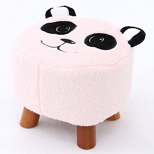 Young baby Tabouret en Bois avec Couverture Souple, Chaise de Chambre à Coucher, Housse Amovible en Flanelle, 4 Couleurs. (L32cm * L29cm * H28cm) (Color : Pink)