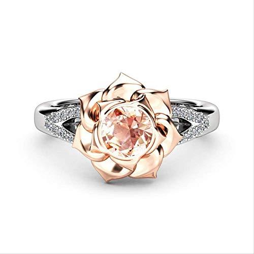 IWINO kristal vrouwelijke champagne bloem verlovingsring schattige luxe 925 zilveren liefde bruiloft sieraden beloven zirkoon stenen ringen voor vrouwen
