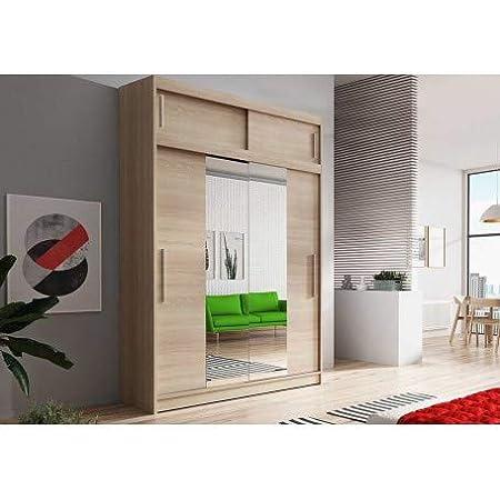 E-MEUBLES Armoire de Chambre avec 2 Portes coulissantes + avec Espace de Stockage supplémentarie + Miroir | Penderie (Tringle) avec étagères (LxHxP): 150x245x61 LARA 01 (Sonoma + Sonoma)