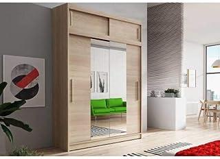 E-MEUBLES Armoire de Chambre avec 2 Portes coulissantes + avec Espace de Stockage supplémentarie + Miroir | Penderie (Trin...