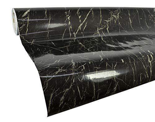 VViViD High Gloss Realistic Finish Black Marble White Veined Architectural Vinyl Wrap 16 inches x 78 inches Roll (1 Roll Pack)