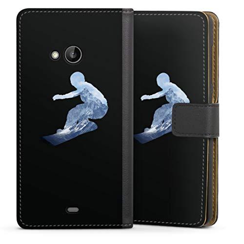DeinDesign Klapphülle kompatibel mit Microsoft Lumia 535 Dual SIM Handyhülle aus Leder schwarz Flip Case Snowboard Winter Sport