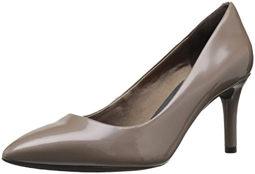 Rockport Womens Total Motion 75mm Pointy Pump,Taupe Grey Patent,9.5 W US