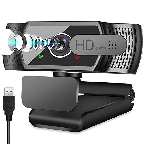 Full HD1080P Webcam mit Mikrofon, Automatischer Lichtkorrektur, Neefeaer USB PC Webcam mit Abdeckung,110° Weitwinkel, PC Kamera für PC, Laptop, Computer, Linux, Mac