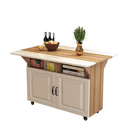 TWW Mesa de Isla en la Cocina, Mesa de Estante móvil para cocinar, Mesa de Cocina, Mesa de Comedor pequeña, Mesa Plegable Multifuncional,Natural