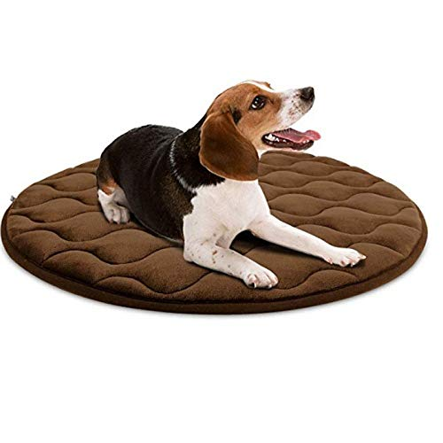 """ZQN Soft Dog Bed, uxurious Dog Ceilings, Round Washable Durable Dog Pillow Non-Slip Dog mat pet Bed line Comfortable for Sleeping Winter,Brown,30""""x30"""""""