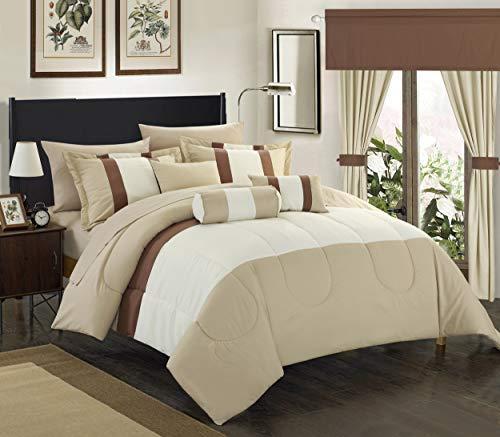 Chic Home 20 Piece Mackenzie Complete Pieced Comforter Set, Queen, Beige