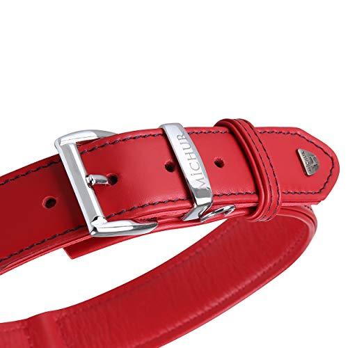 MICHUR Classica Collar de Cuero para Perros, Cuello, Rojo con Costuras Azules y un Anillo para la Placa de identificación, Cuero, Disponibles en Diferentes tamaños, 62cm