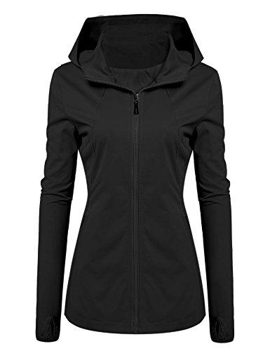 Meaneor - Giacca softshell da donna con cappuccio a maniche lunghe, con zip Nero S