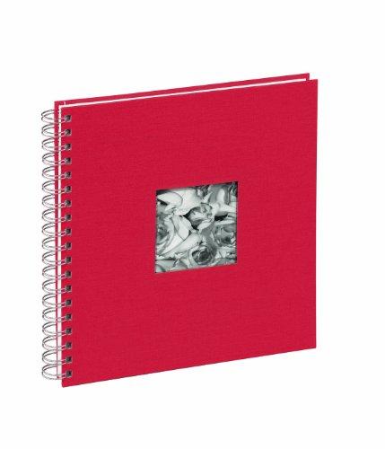 Pagna 12156-03 Passepartout-Spiralalbum 240 x 250 mm 50 Seiten, Leineneinband mit Passepartout Fotokarton weiß mit Pergamin, rot