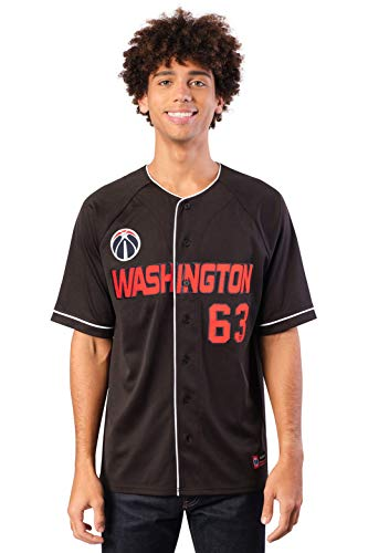 Ultra Game NBA Washington Wizards Mens Mesh Button Down Baseball Jersey Tee Shirt, Black, Medium