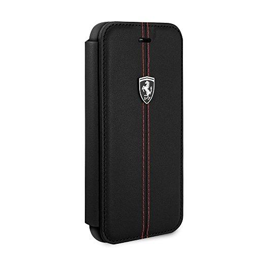 Ferrari - Funda rígida de piel para iPhone SE (2020), iPhone 8 y iPhone 7, con tarjetero y ranuras para tarjetas de visita, fácil de poner y quitar golpes, con licencia oficial (Blac)
