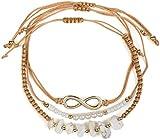 styleBREAKER Set de 3 Pulseras de Tela de Mujer con símbolo del Infinito, Perlas y Piedras, bisutería 05040163,...