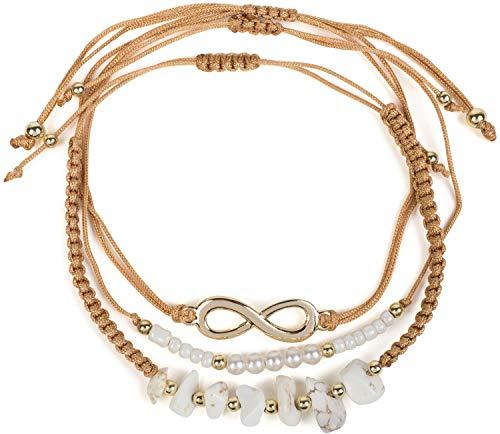 styleBREAKER Set de 3 Pulseras de Tela de Mujer con símbolo del Infinito, Perlas y Piedras, bisutería 05040163, Color:Marrón/Dorado