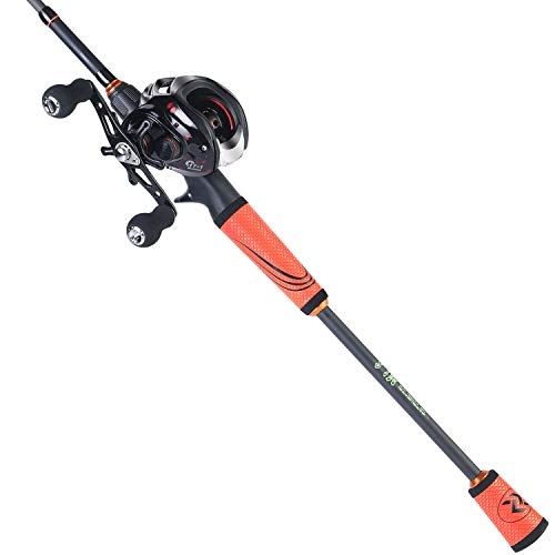 Sougayilang Ultralight Fishing Rod Reel Combos Portable Light Weight High Carbon 4 Pc Baitcaster Fishing Pole with Baitcasting Reel -2.1M Right Handed -Orange