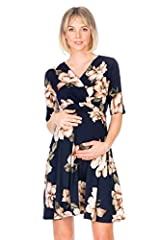 Specially designed to be simple, stylish, but yet comfortable and complementing through all stages of pregnancy. Seasonless maternity wrap dress that can be worn in any occasion with style. Espacially baby shower . You can wear after pregnancy Care i...