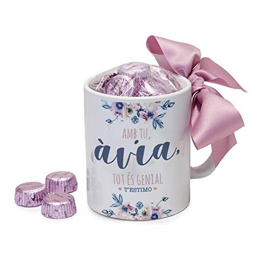 Mopec GB500.2.2 Taza cerámica Amb tu Àvia, con 6 Bombones, Porcelana