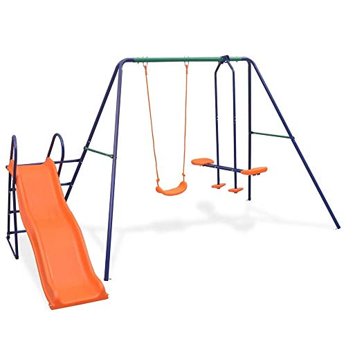 Autoshoppingcenter Columpio Infantil con Tobogán para 3 Niños Centro de Juego para Jardín Exterior e Interior, 297 x 193 x 180 cm [EU Stock]