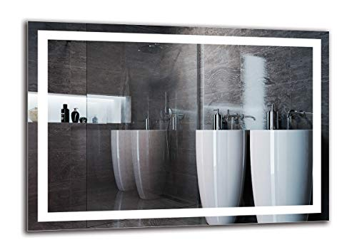 Espejo LED Premium - Dimensiones del Espejo 100x70 cm - Espejo de baño con iluminación LED - Espejo de Pared - Espejo de luz - Espejo con iluminación - ARTTOR M1ZP-47-100x70 - Blanco frío 6500K