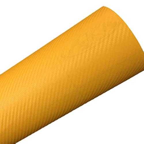 Pegatina adhesiva para coche - DIY 30x127 3D de fibra de carbono etiqueta vinilo rollo adhesivo hoja amarilla creativa y útil