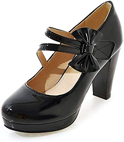 HOESCZS Plus La Taille 33-43 Chaussures à Talons Hauts Escarpins Femme Noir Blanc Noeud Papillon Pointu Toe Plateforme Escarpins Chaussures De Mariage Femmes