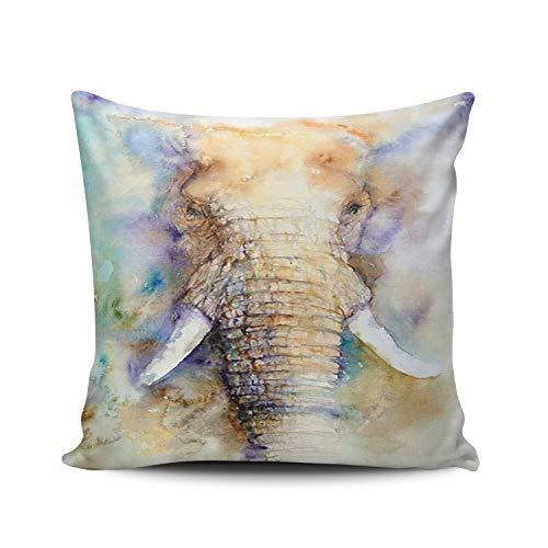 SUN DANCE Funda de almohada decorativa para dormitorio, diseño de elefante grande, acuarela, doble cara, diseño cuadrado, 50 x 50 cm