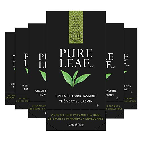 Pure Leaf Green with Jasmine Enveloped Hot Tea Bags Single Origin: China, Made with Tea Leaves Sourced from Rainforest Alliance Certified Farms, 25 count, Pack of 6
