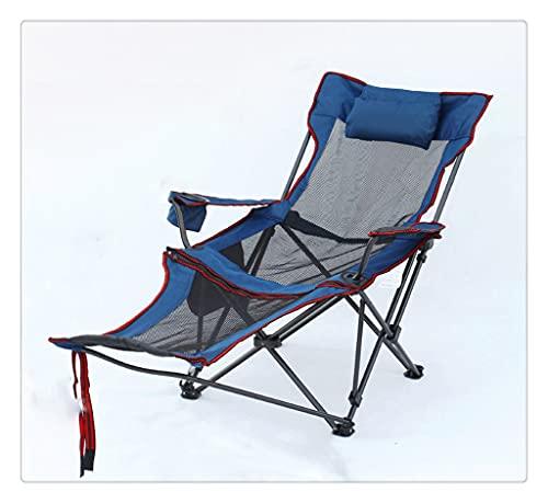 PVDR Silla De Respaldo Portátil Plegable Al Aire Libre Silla De Eslinga Plegable para Acampar Que Acompaña A La Cama Dormette Cama para La Siesta Tumbona De Playa (Color : Blue)