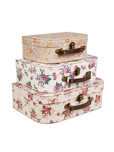 Sass & Belle - Juego 3 maletas vintage diseño rosas