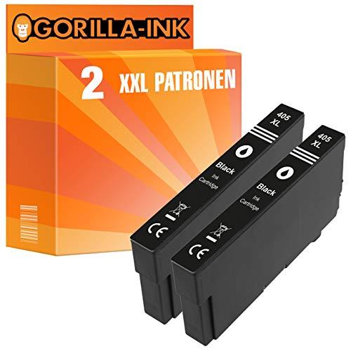 Gorilla-Ink 2 cartuchos XXL compatibles con Epson 405XL negro. Adecuado para Epson Workforce EC-C 7000 Pro WF-3820 DWF Pro WF-3825 DWF Pro WF-3830 DWTF Pro WF-4820 DWF Pro WF-4825 DWF Pro WF-4830 DTWf
